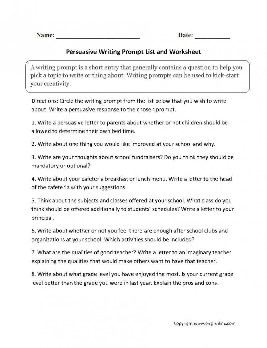 005 Persuasive Writing Prompt List Essay Prompts Formidable For High School Students 4th Grade