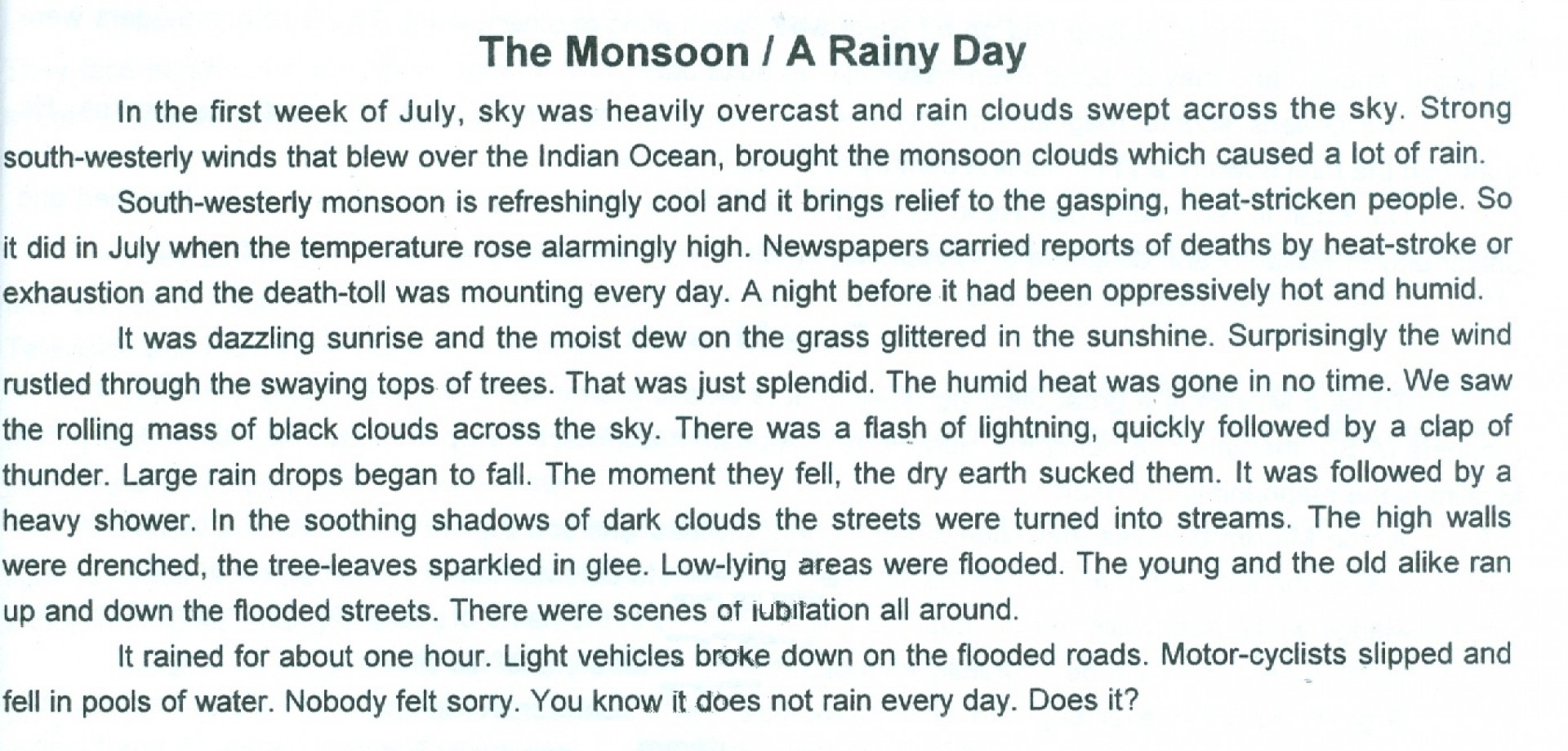 005 Rainy Day Essay English The2bmoonsoon Stupendous My In For Class 6 10 1920