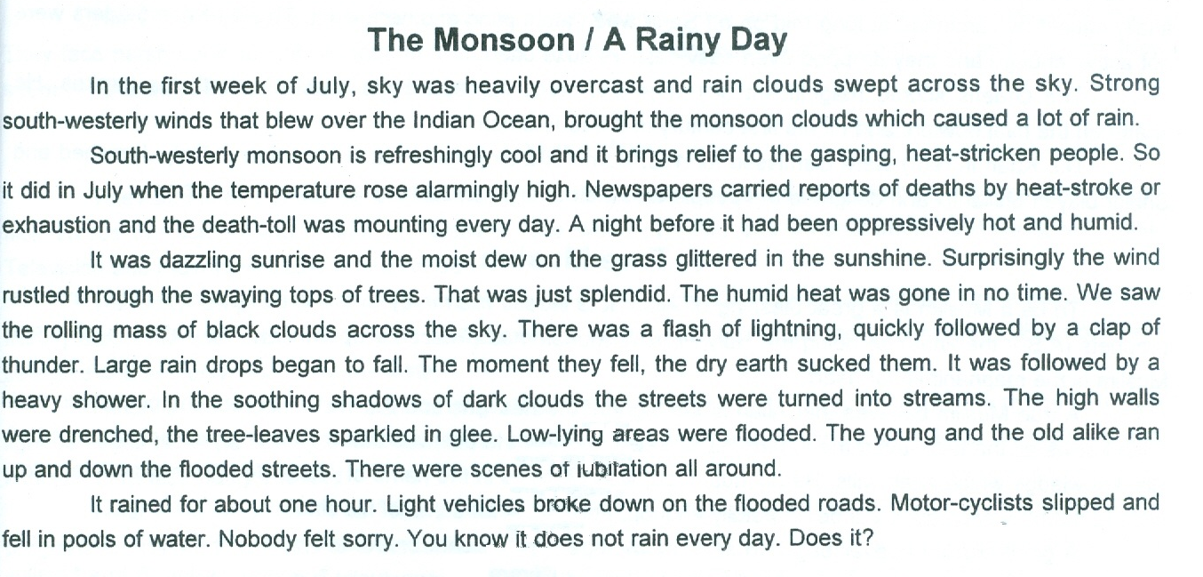 005 Rainy Day Essay English The2bmoonsoon Stupendous My In For Class 6 10 Full
