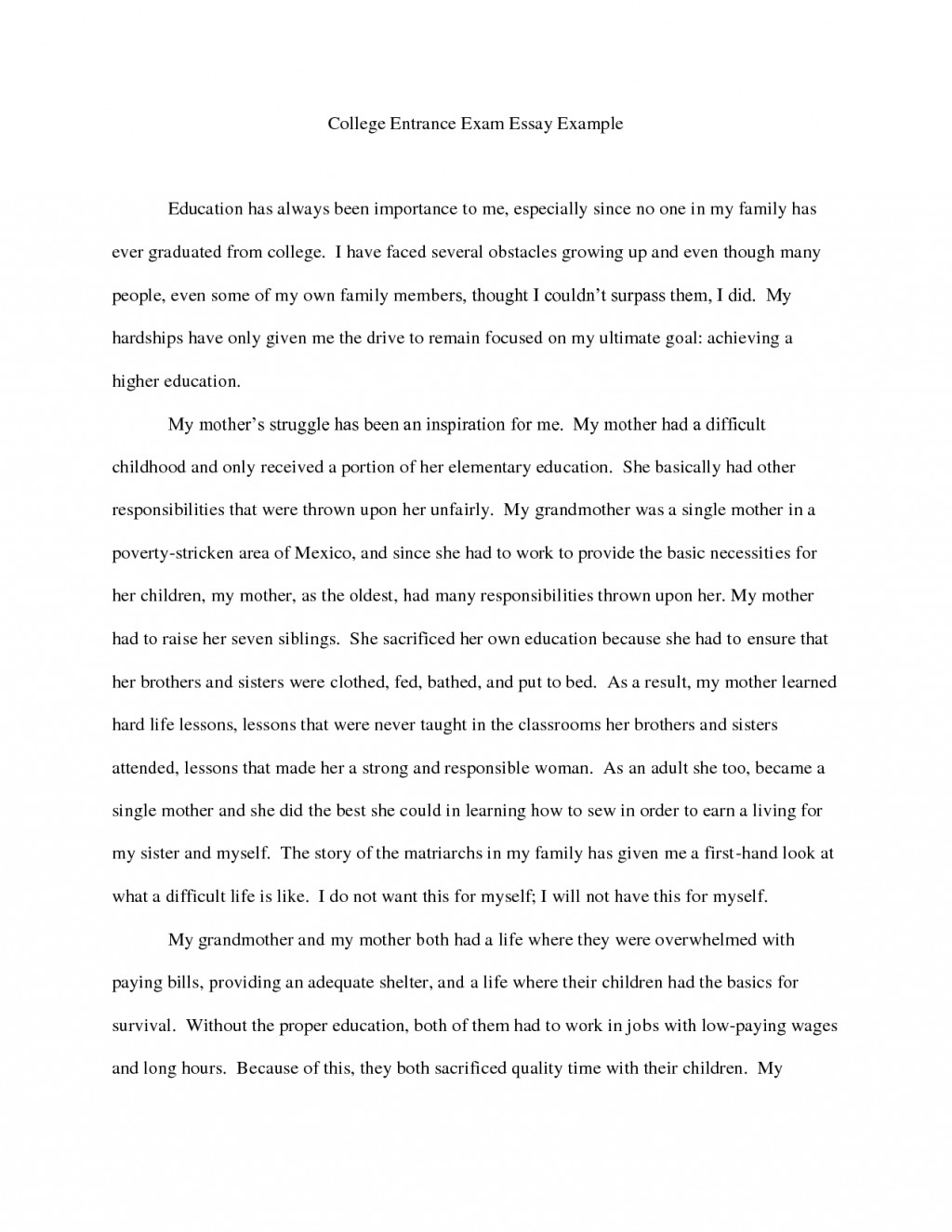 005 Sample College Essay Examples 130950 Example Why Fearsome This I Chose Our Large