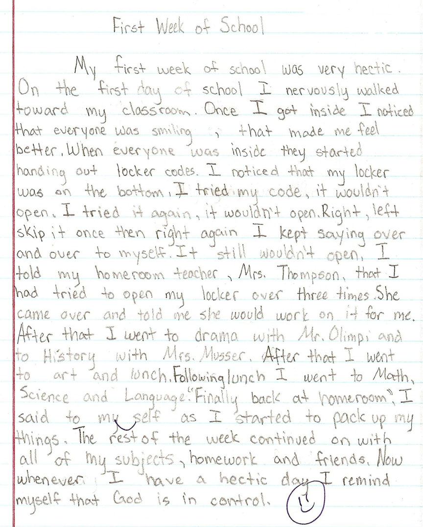 005 Sample1a Essay Example 6th Grade Surprising Topics Reflective Narrative Writing Prompts Science Full