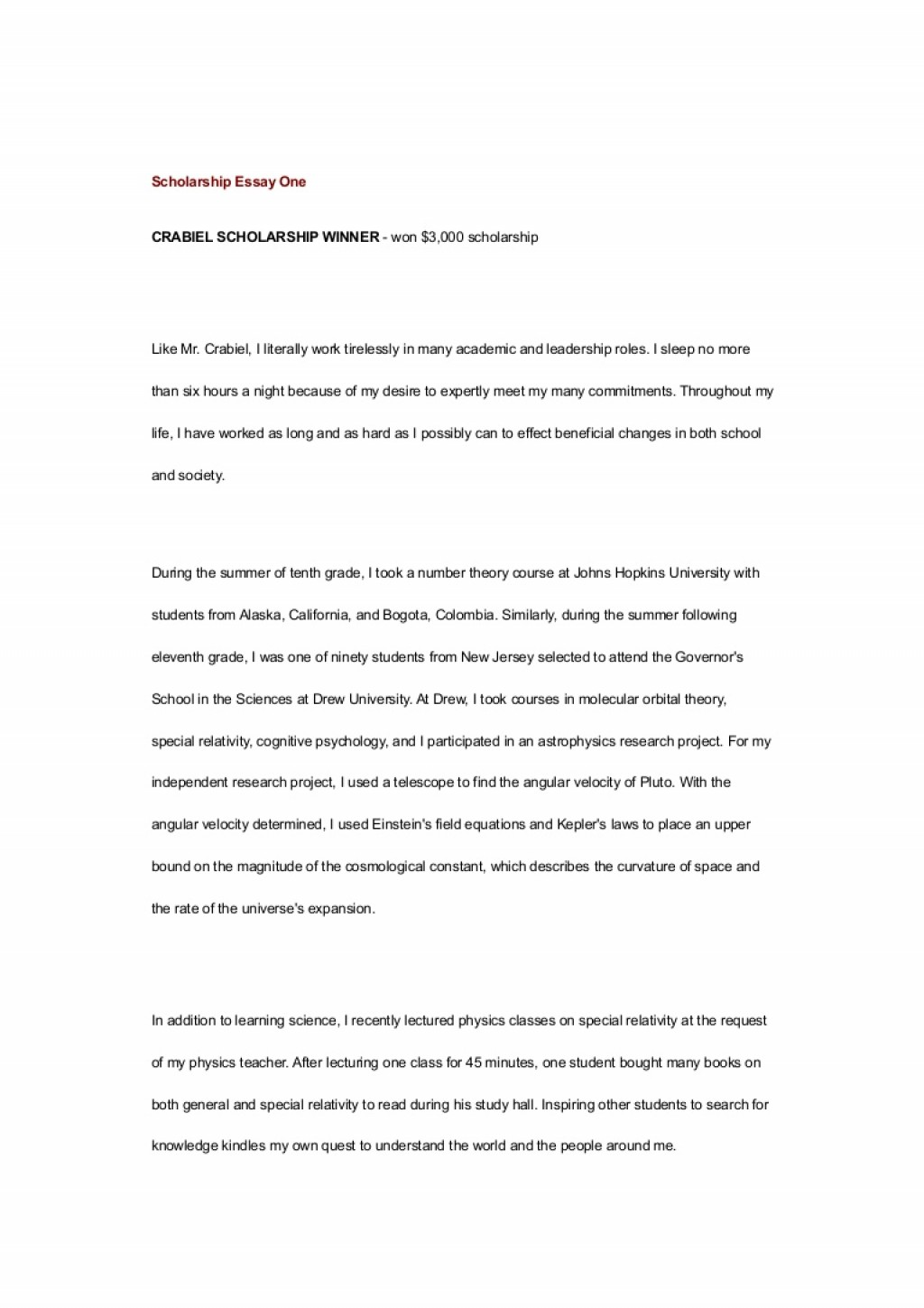 005 Scholarship Essay Examples Example Scholarshipessayone Phpapp01 Thumbnail Impressive Financial Need Pdf Nursing Large