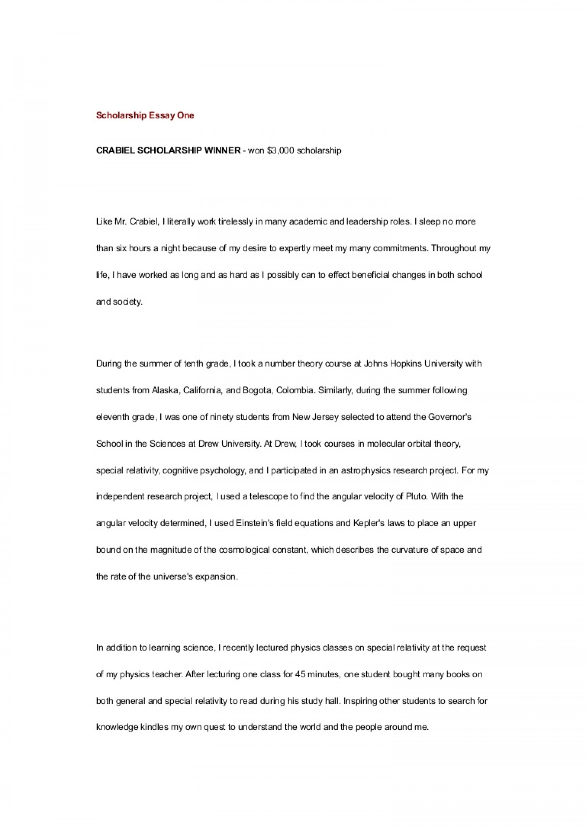 005 Scholarship Essay Examples Example Scholarshipessayone Phpapp01 Thumbnail Impressive Financial Need Pdf Nursing 1920