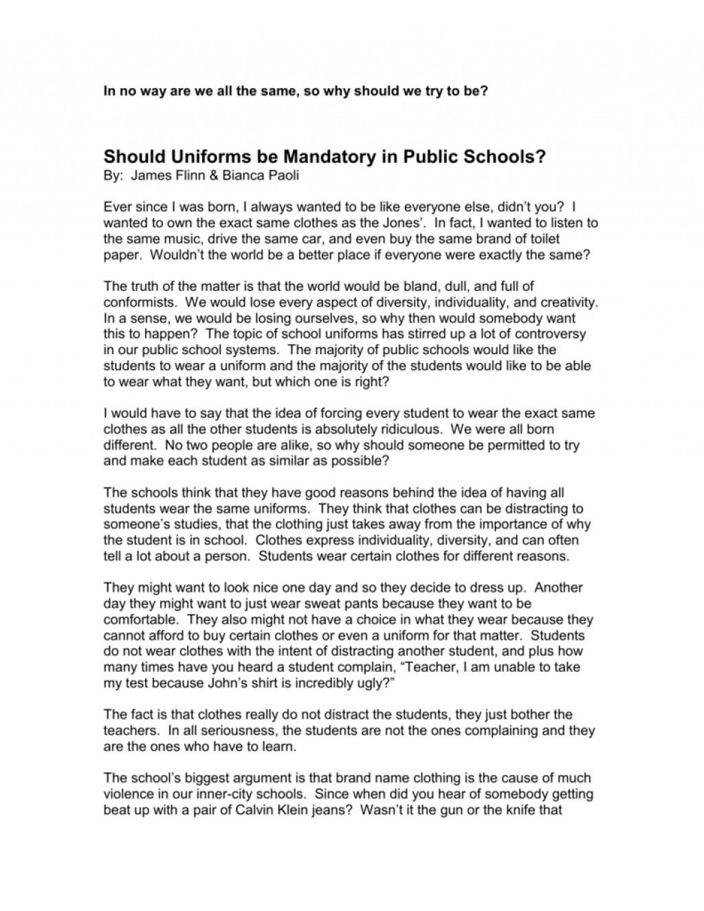 005 Should Students Wear School Uniforms Essay Example Uniform Essays Pros And Cons Poemsrom Co 008022782 1 Conclusion Not Impressive Ielts Sample Large