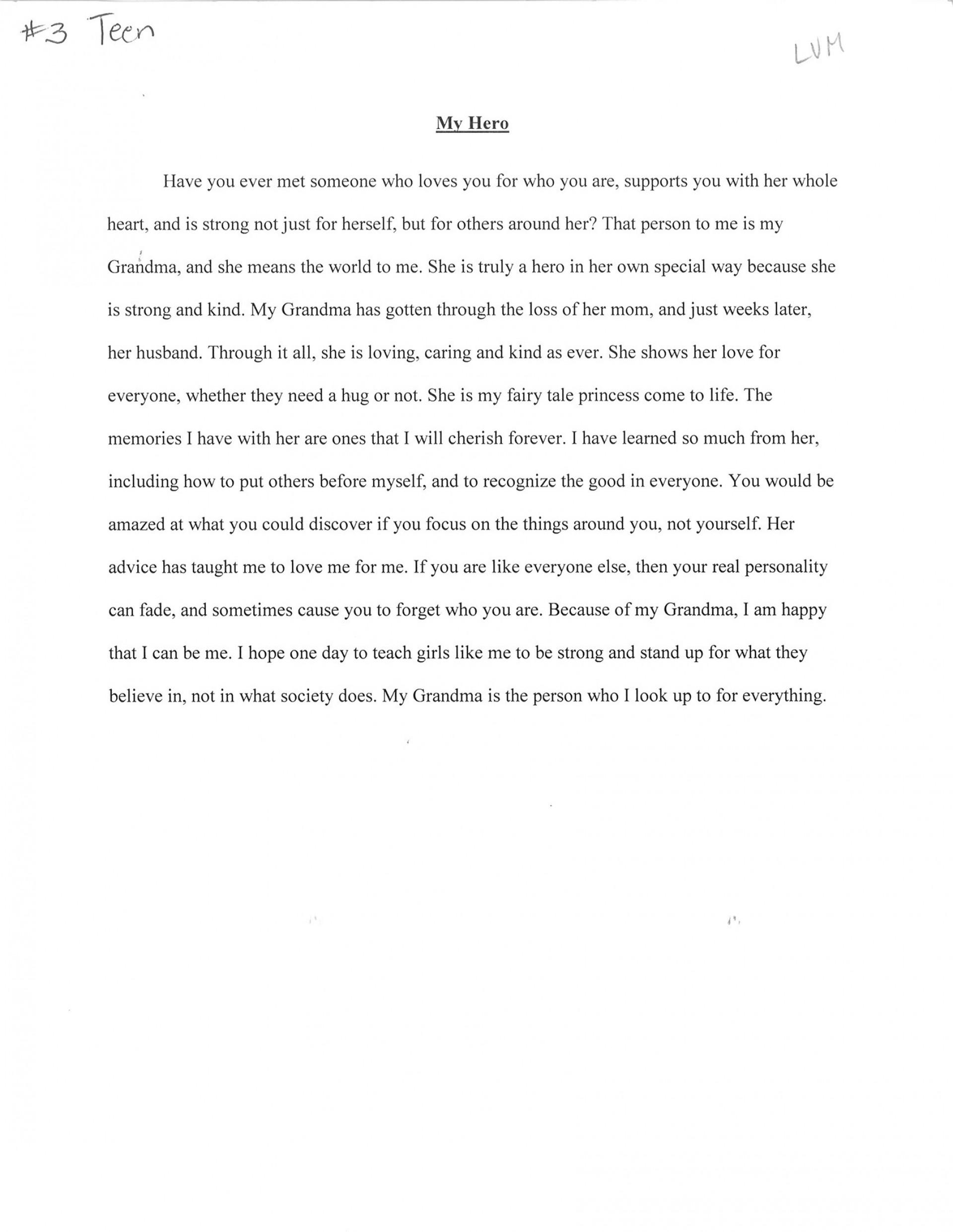 005 Third20place20teen20sarah20horst20 20my20hero An Essay About My Hero Fascinating Heroine Teacher 500 Words A Narrative 1920