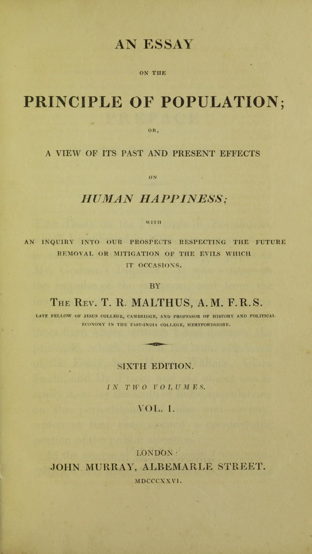 005 Thomas Malthus Essay On The Principle Of Population Lossy Page1 1200px  Population2c 1826 5884843 Tif Stupendous After Reading Malthus's Principles Darwin Got Idea That Ap EuroLarge