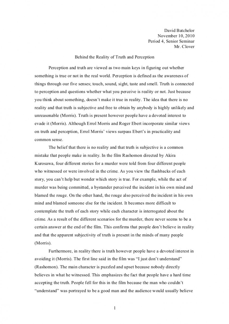 005 Truth Essay Truthperceptionessay Phpapp01 Thumbnail Formidable Conclusion On Friend In Hindi An Inconvenient