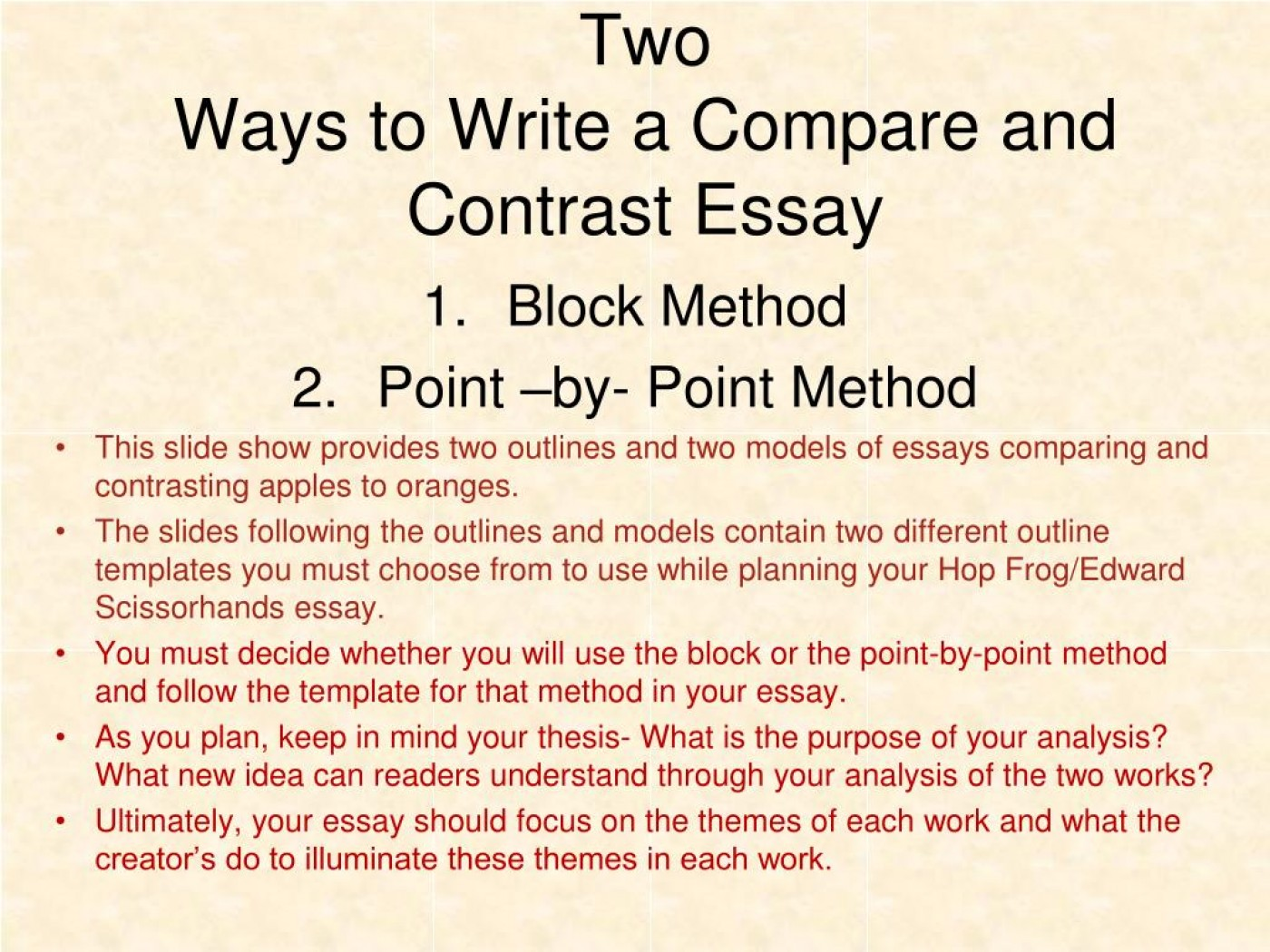 005 Two Ways To Write Compare And Contrast Essay L Example Point Wonderful By Outline 1400