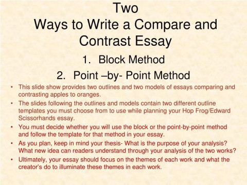 005 Two Ways To Write Compare And Contrast Essay L Example Point Wonderful By Outline 480