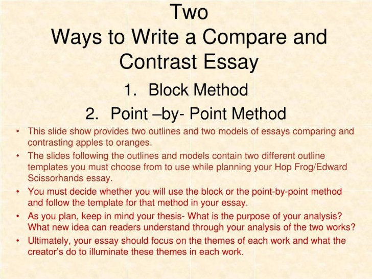 005 Two Ways To Write Compare And Contrast Essay L Example Point Wonderful By Outline 728