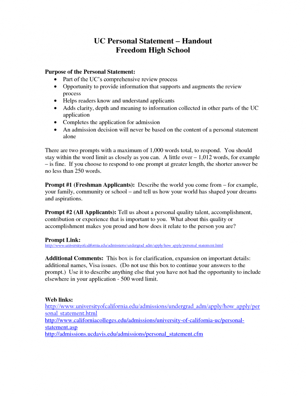 005 Uc College Essay Prompts Example Best Mba Sample Statement Of