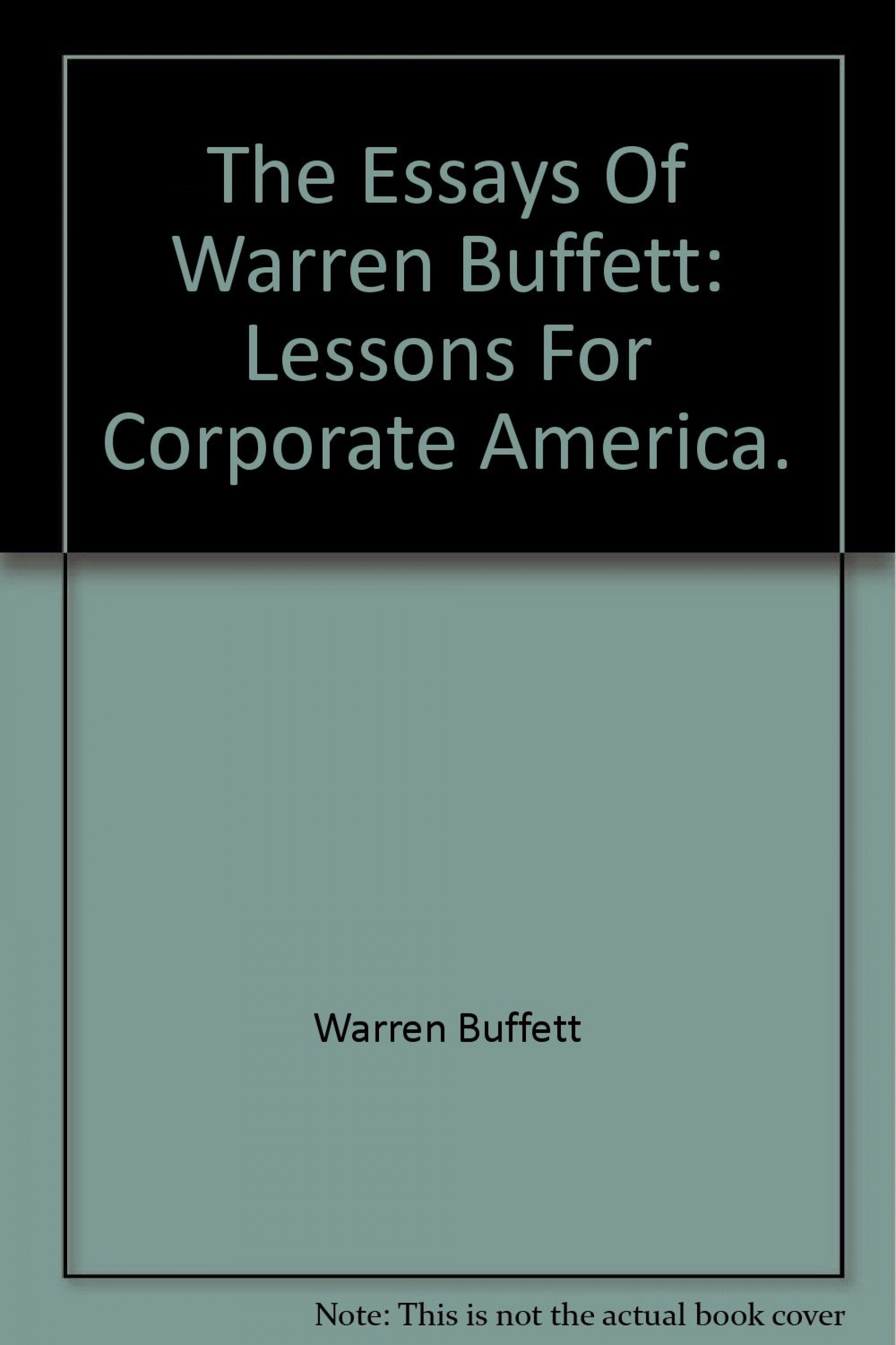 006 61wo12biiixl The Essays Of Warren Buffett Lessons For Corporate America Essay Remarkable Third Edition 3rd Second Pdf Audio Book 1920