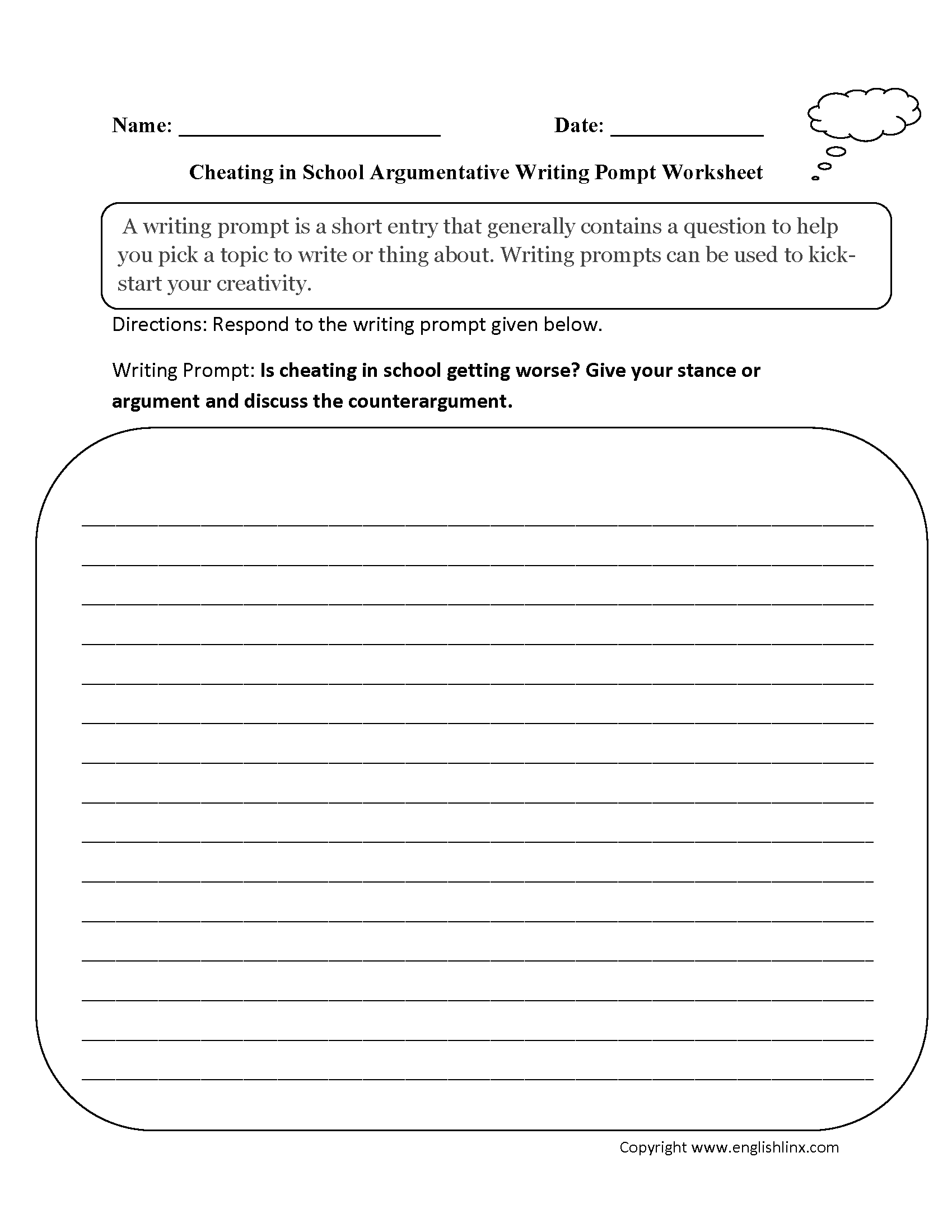 006 6th Grade Argumentative Essay Topics Cheating School Writing Prompts Worksheets Unique Sixth 6 Full