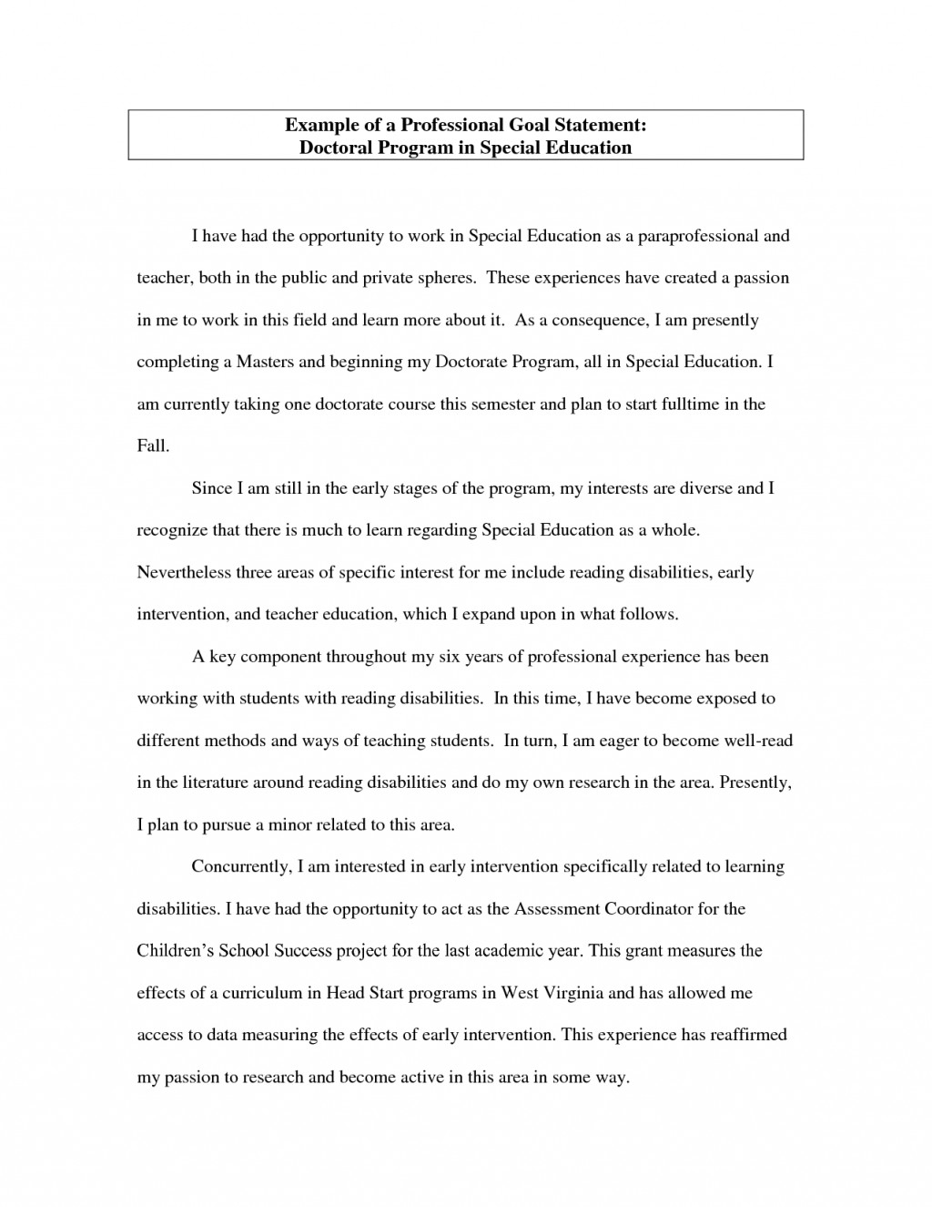 006 Academic Essay Example Career Goal Statement Fantastic 1500 Words 500 Large