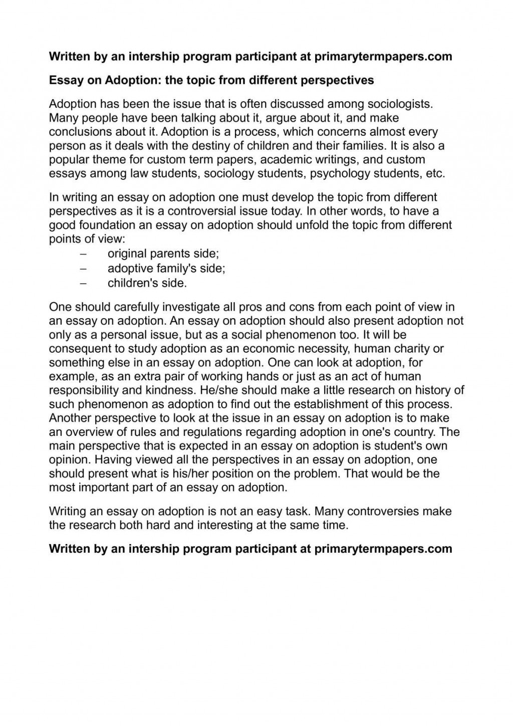 006 Adoption Essay Example Unforgettable Titles Outline Large