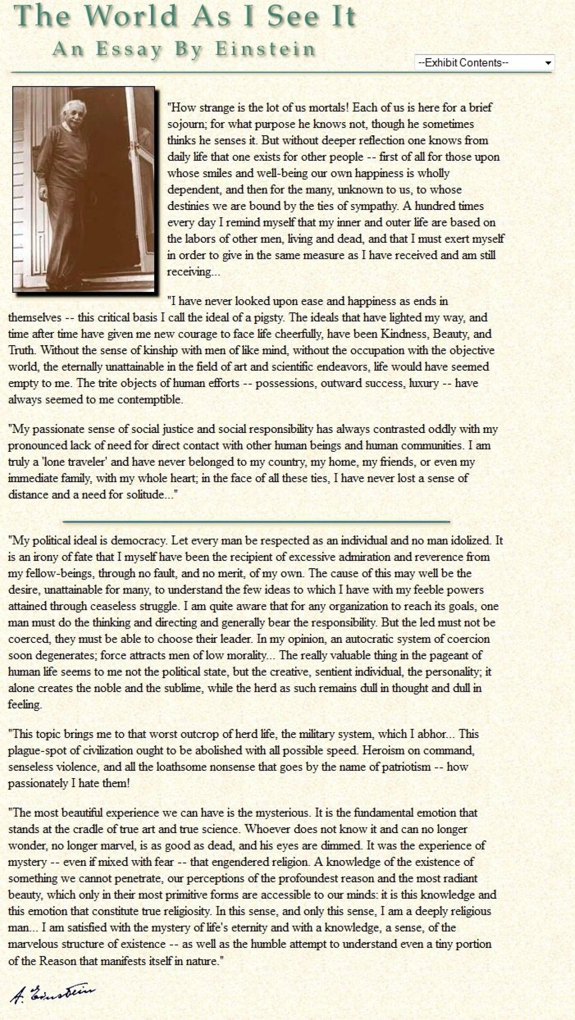 006 Albert Einstein Essay Awesome Essays In Humanism Pdf Science Kannada 1920