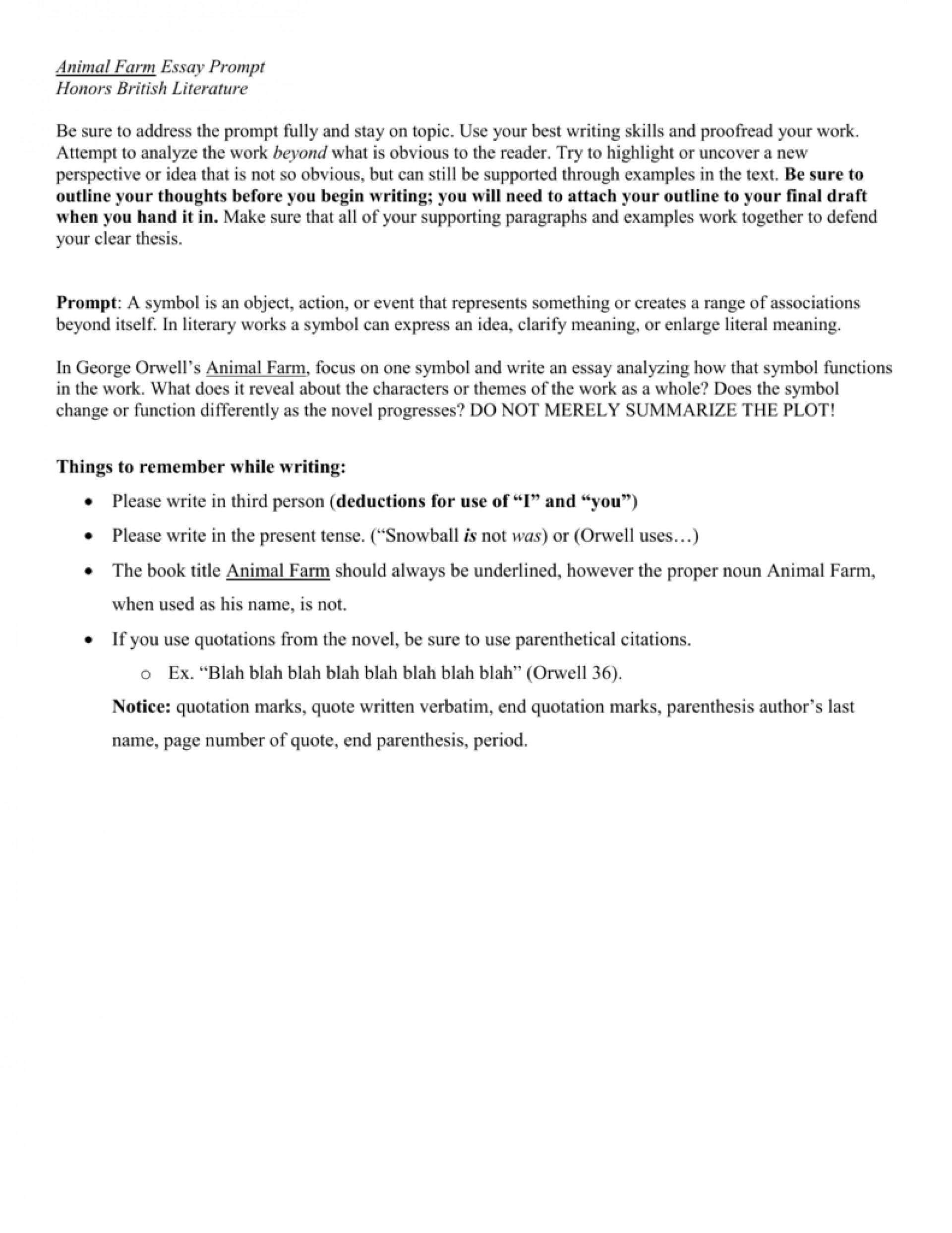 Good essay questions for animal farm
