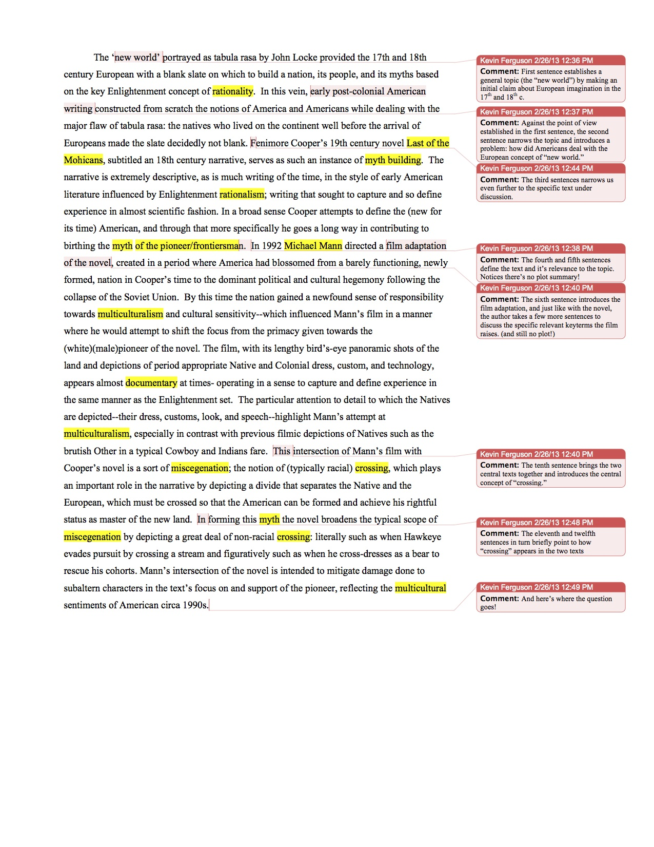 Annotated essay example