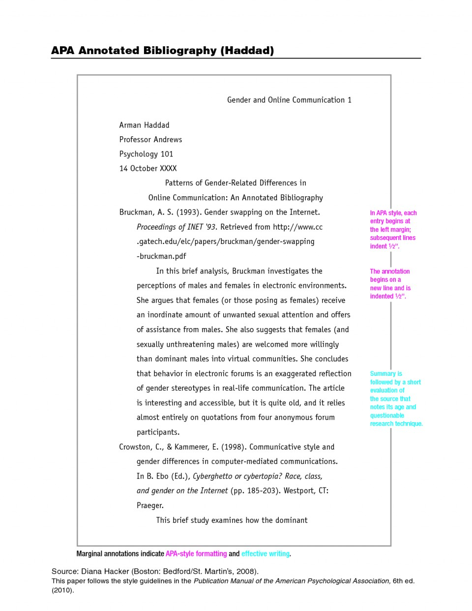 006 Apa Format Essay Example Stupendous Citation Style Research Paper 6th Edition Pdf 960