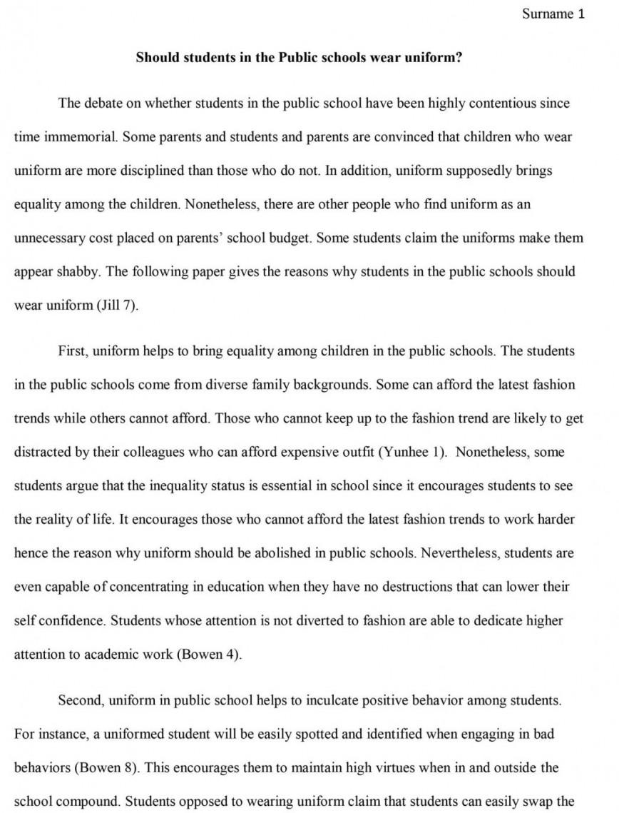 school uniform essay sample