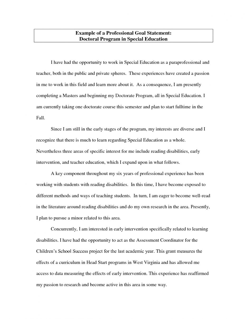 006 Career Goal Essay Example Objectives Statement Essays For