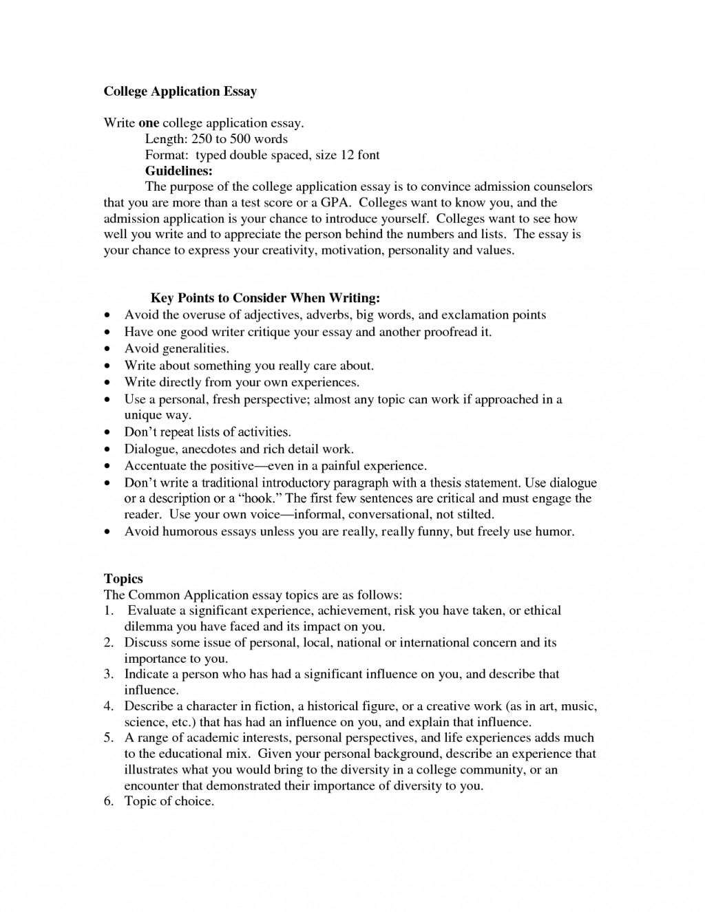 006 College Admission Essay Format Example Awesome Guidelines Application Examples Large