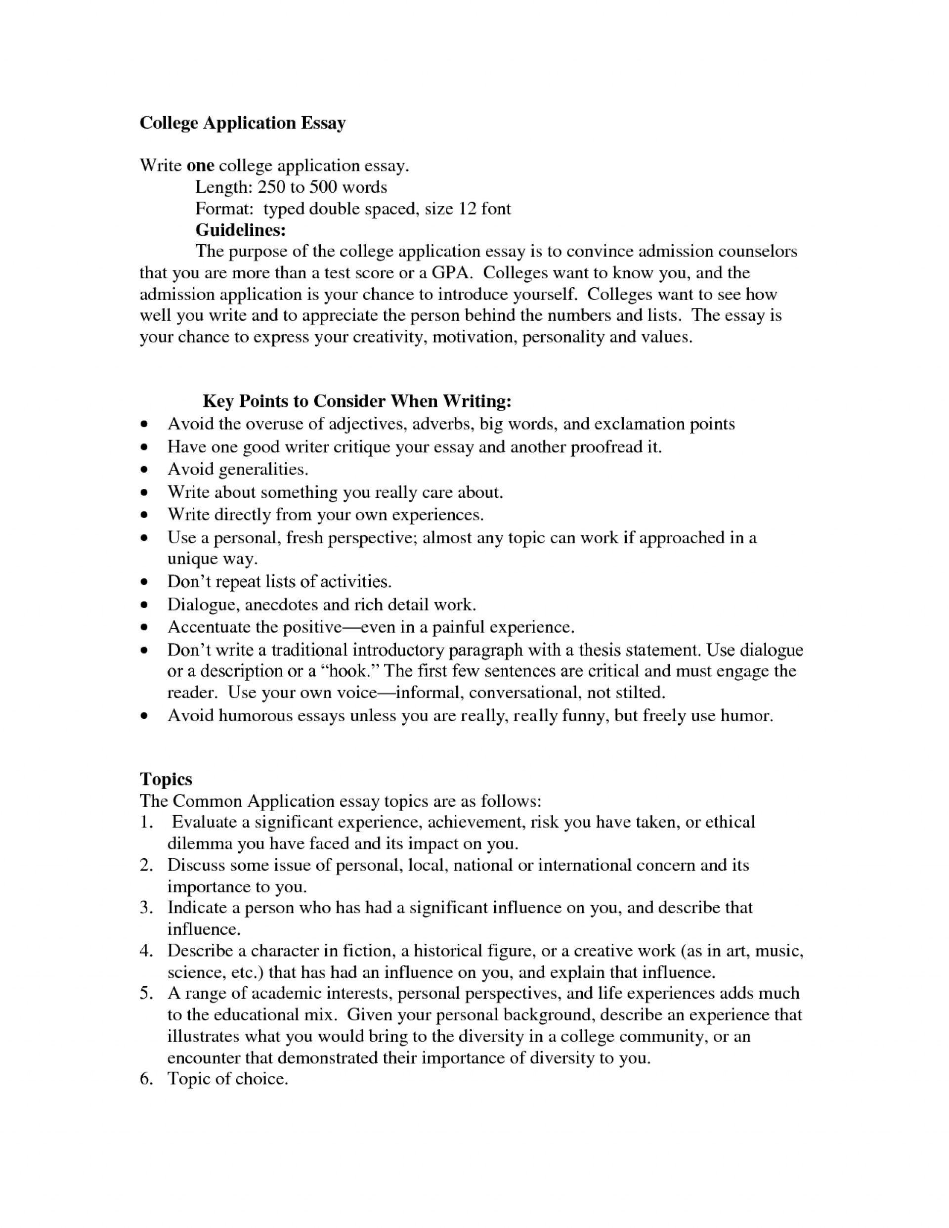 006 College Admission Essay Format Example Awesome Guidelines Application Examples 1920