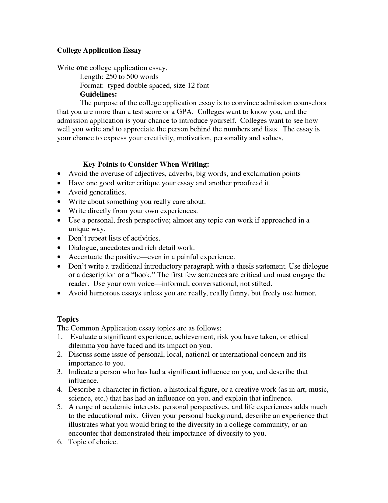 006 College Admission Essay Format Example Awesome Guidelines Application Examples Full