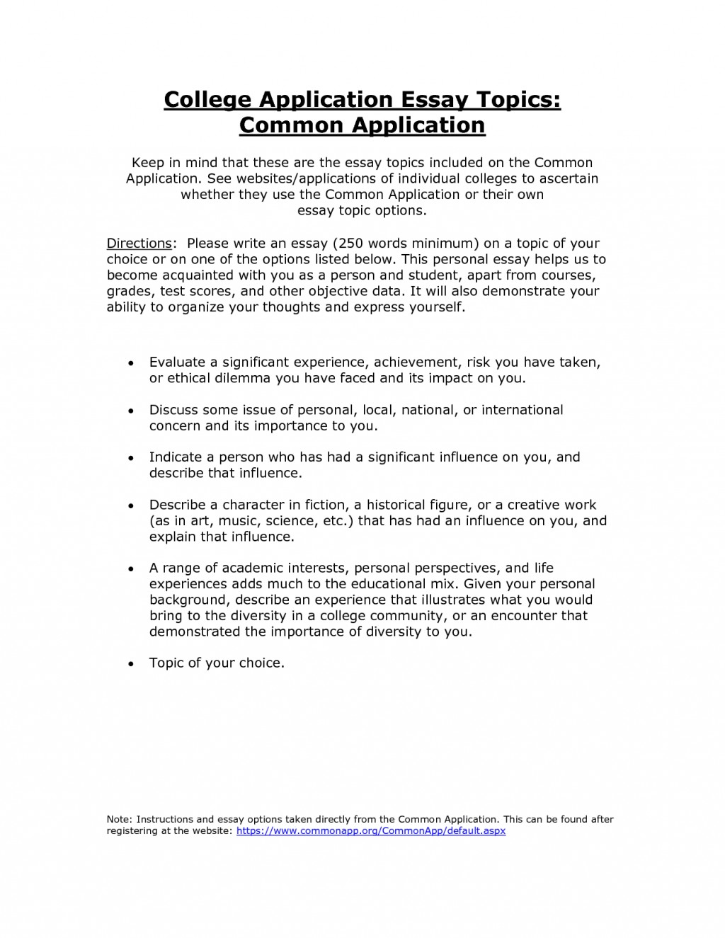 006 College Common Application Essay Fascinating Length Examples Large