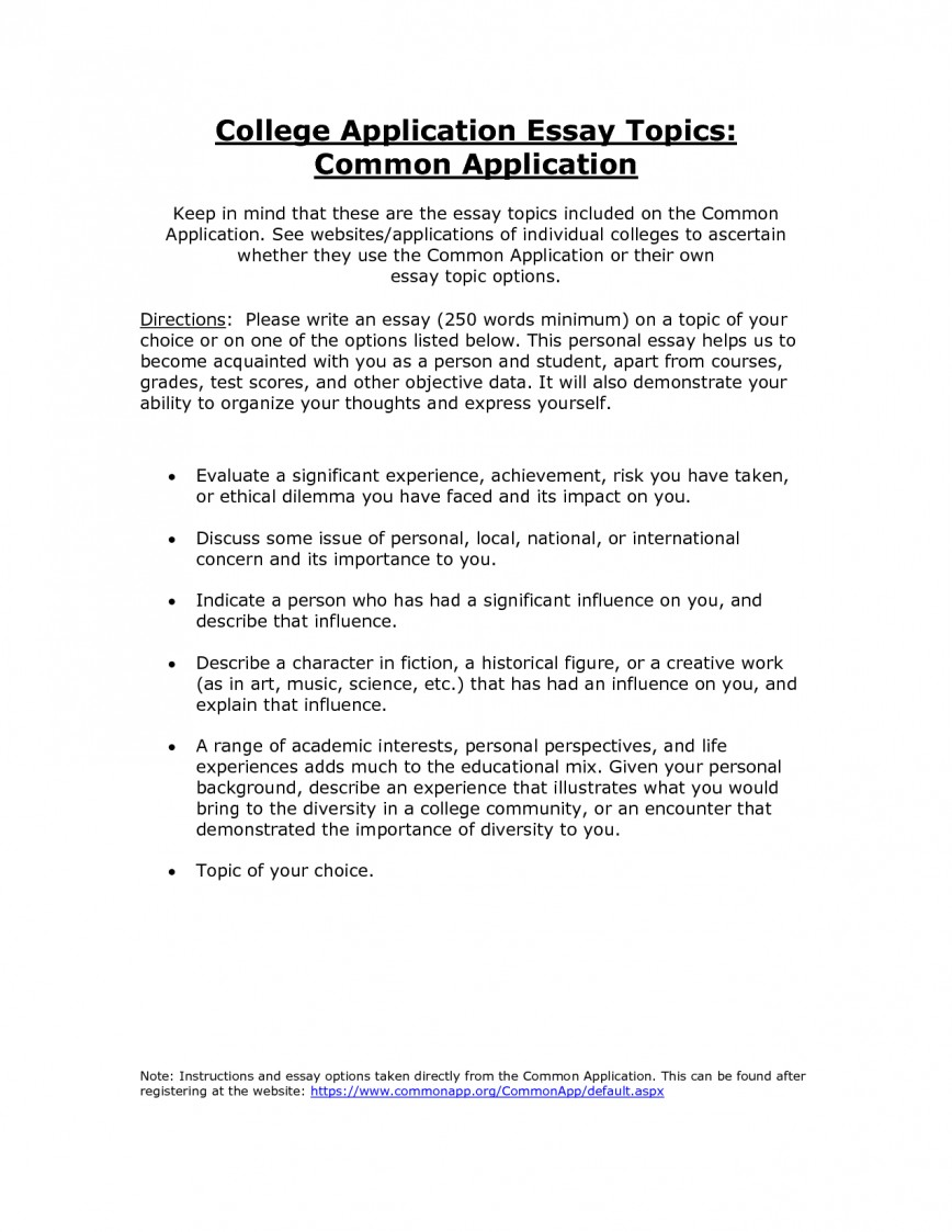 006 College Common Application Essay Fascinating Length Admission Topics