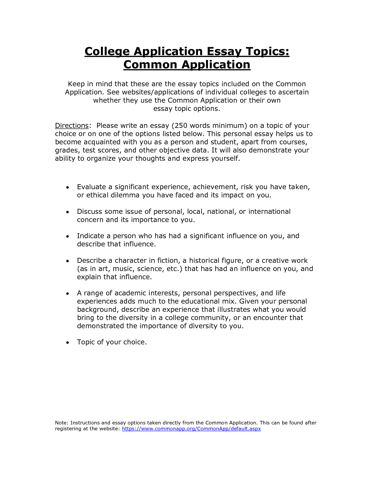 006 College Common Application Essay Fascinating Length Examples Full