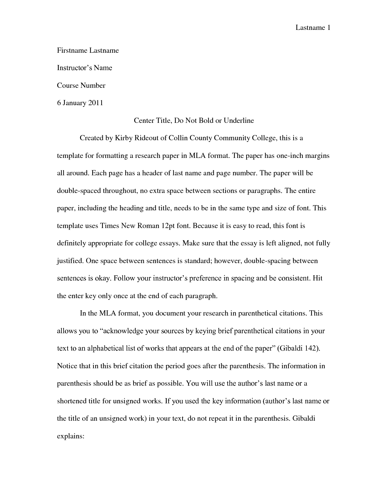 how to format the college essay