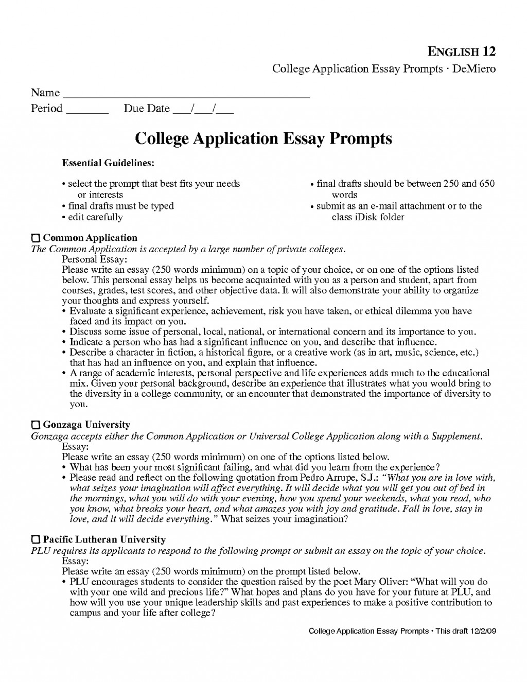 006 Common Essay Prompts Example App Provided By Application College Examples Physic Minimalistics Co Inside Formidable Prompt 4 Scholarship Large