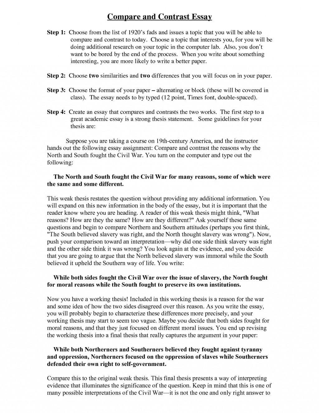 006 Comparison Contrast Essays Pekhgfly8d Surprising Essay Examples Compare Pdf And Format Large
