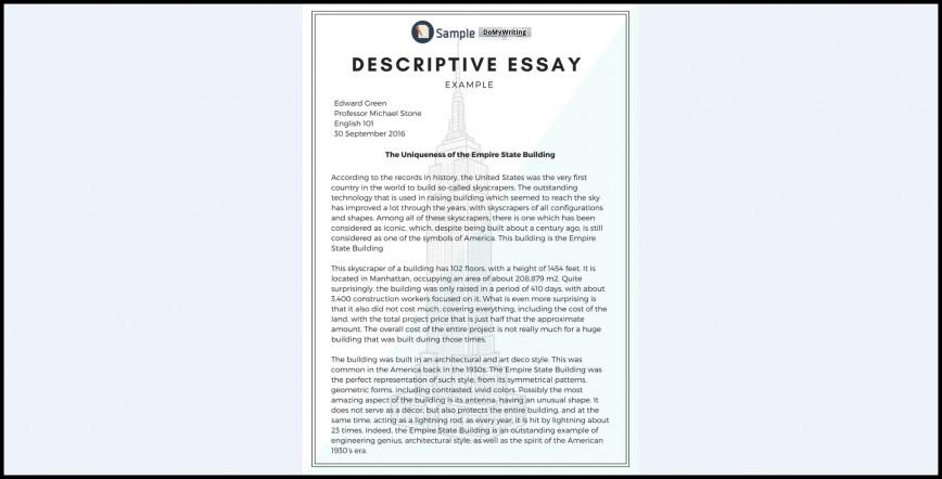 006 Descriptive Essay Samples Definition Unique Pdf Writing