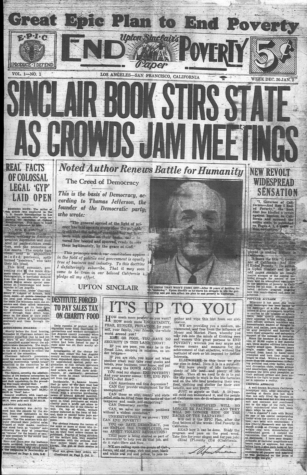 006 Epic News 02p1 Essay Example The Jungle Upton Sinclair Book Rare Review Large