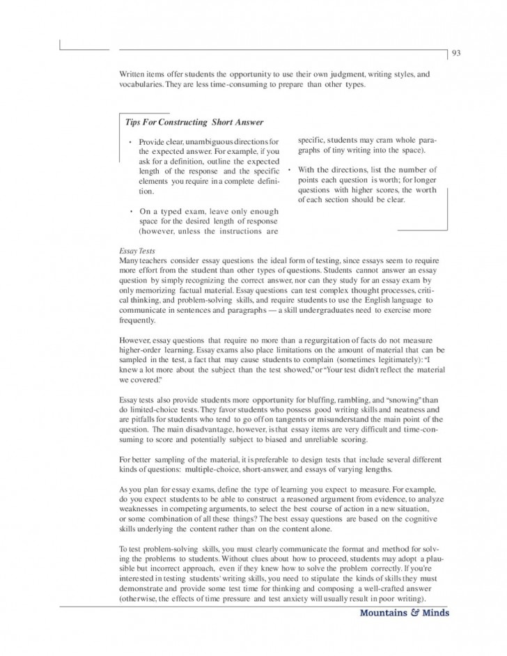 006 Essay Exam Example Page 98 Stirring Introduction Examples About Yourself Mla Leadership College 728