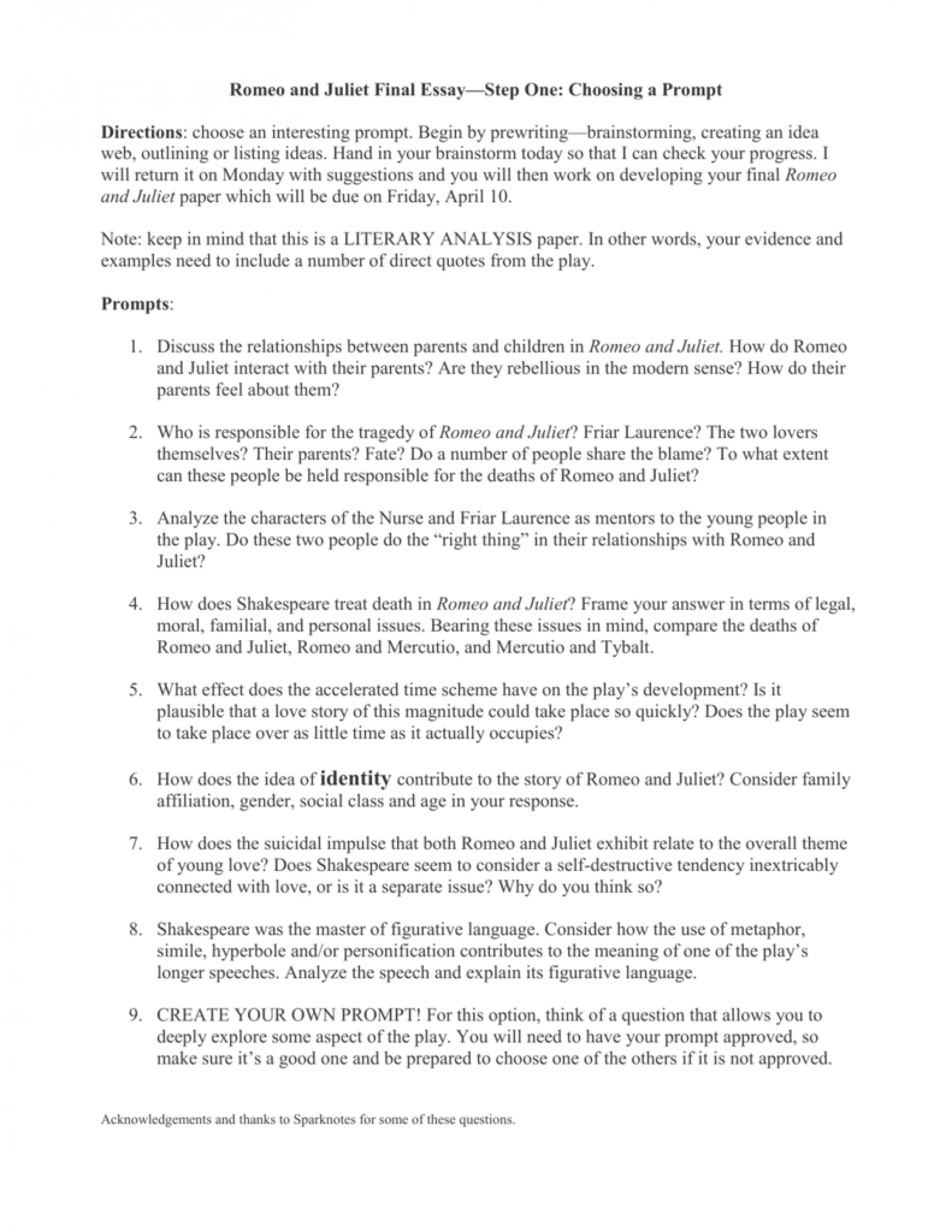 006 Essay Example 007794597 2 Romeo And Juliet Fantastic Prompts Prompt Who Is To Blame Questions Writing 1920