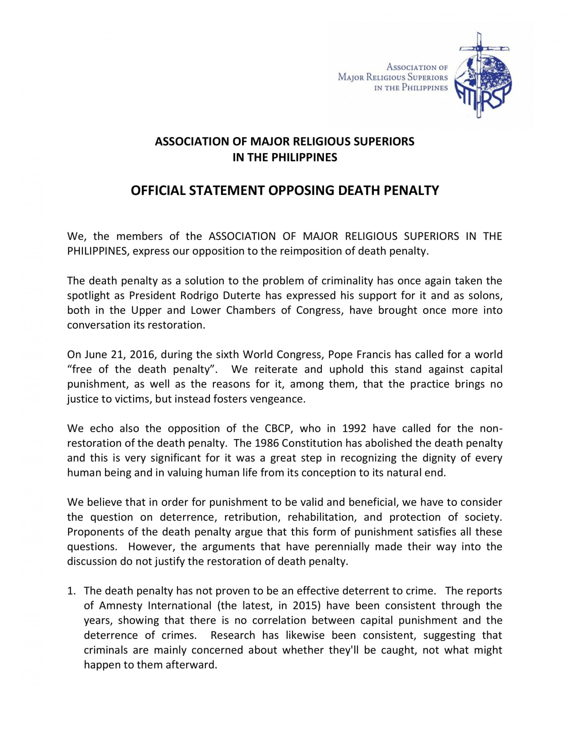 006 Essay Example Amrsp Message Statement Against Death Penalty On Is The Unusual Effective Argumentative 1920