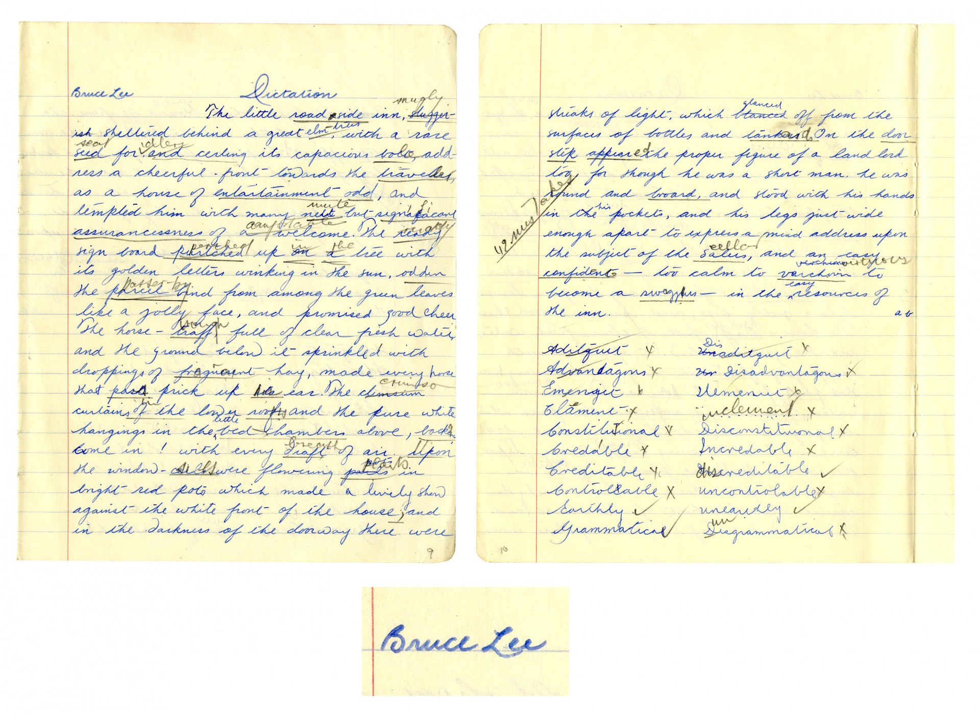 006 Essay Example Bruce Lee Signed 52850 Lg On Fearsome Handwriting Short Importance Of Good In Hindi Gujarati 1920