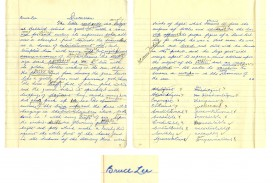 006 Essay Example Bruce Lee Signed 52850 Lg On Fearsome Handwriting Short Importance Of Good In Hindi Gujarati