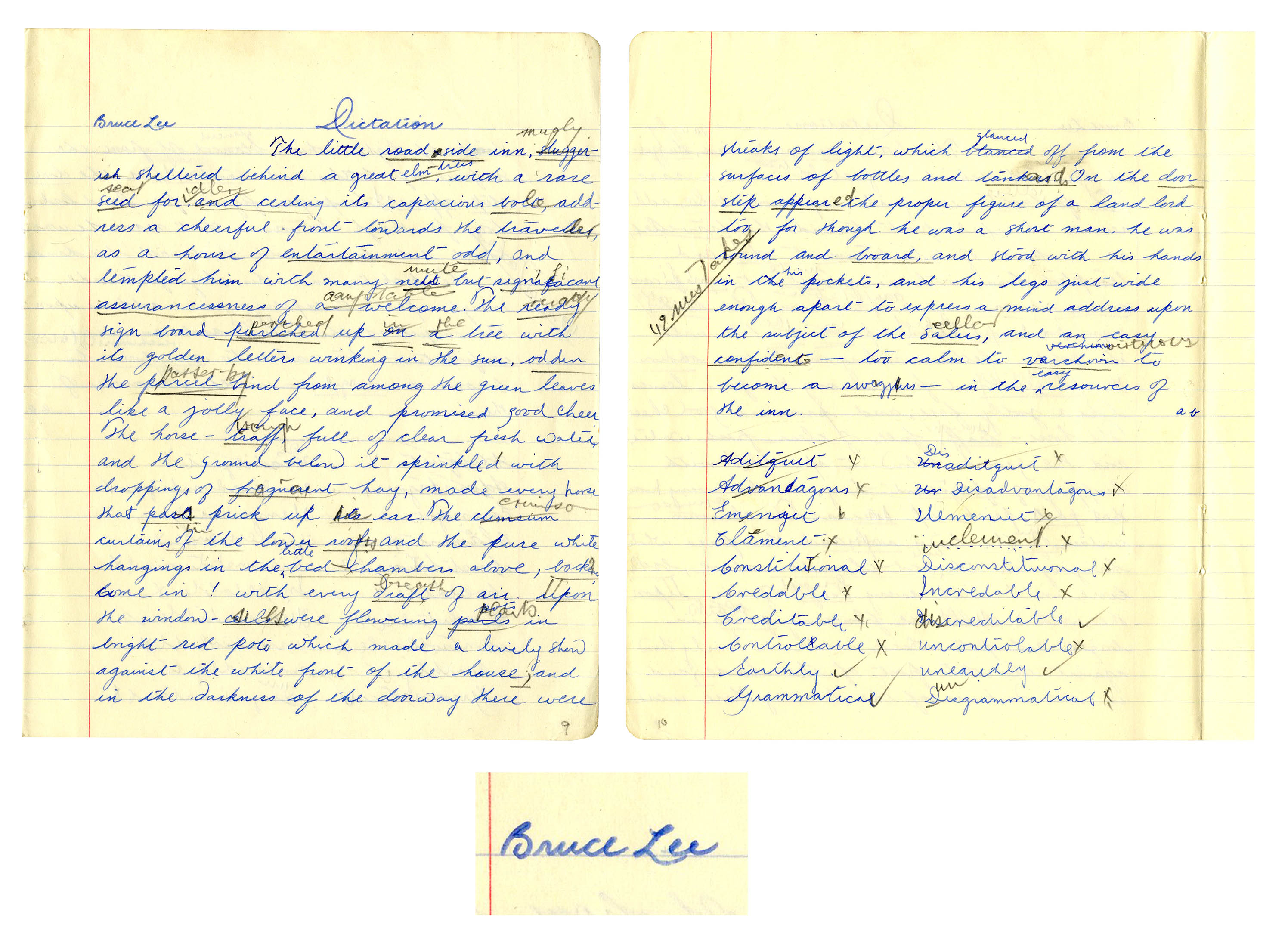 006 Essay Example Bruce Lee Signed 52850 Lg On Fearsome Handwriting Short Importance Of Good In Hindi Gujarati Full