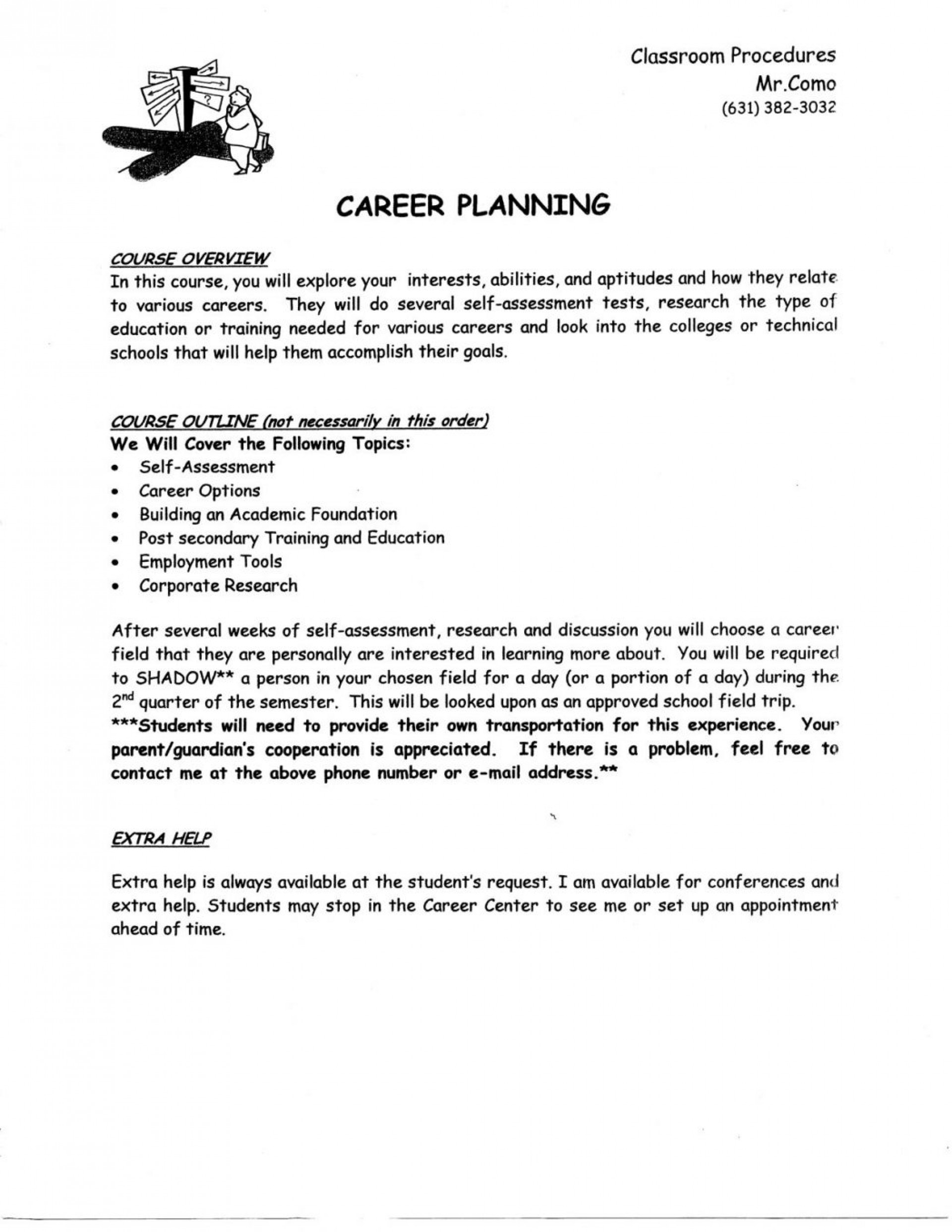 my career plan sample
