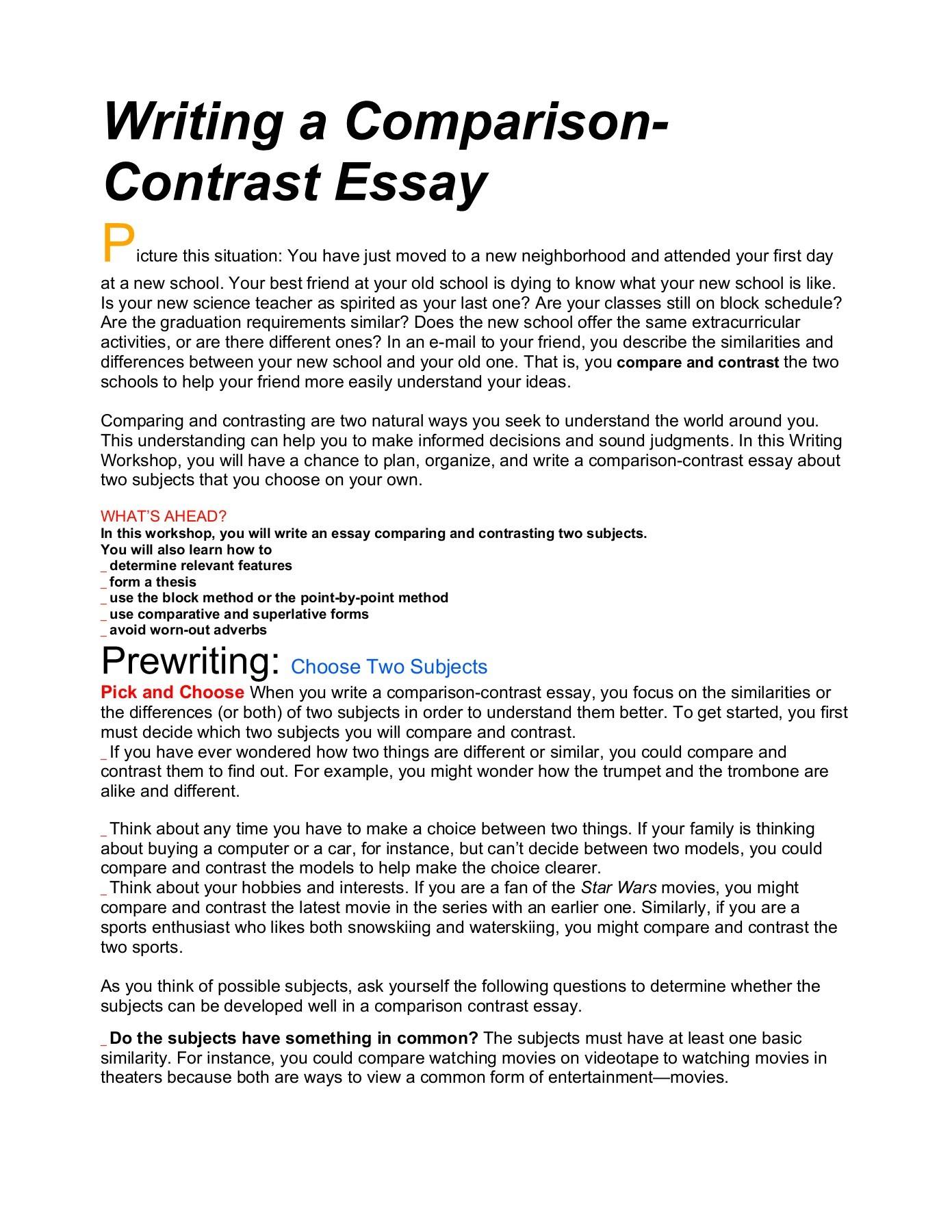 006 Essay Example Comparison Beautiful Contrast Compare Format College Graphic Organizer Pdf Examples Full