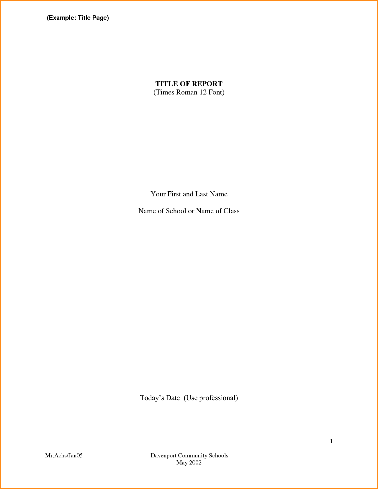 how to create a title page