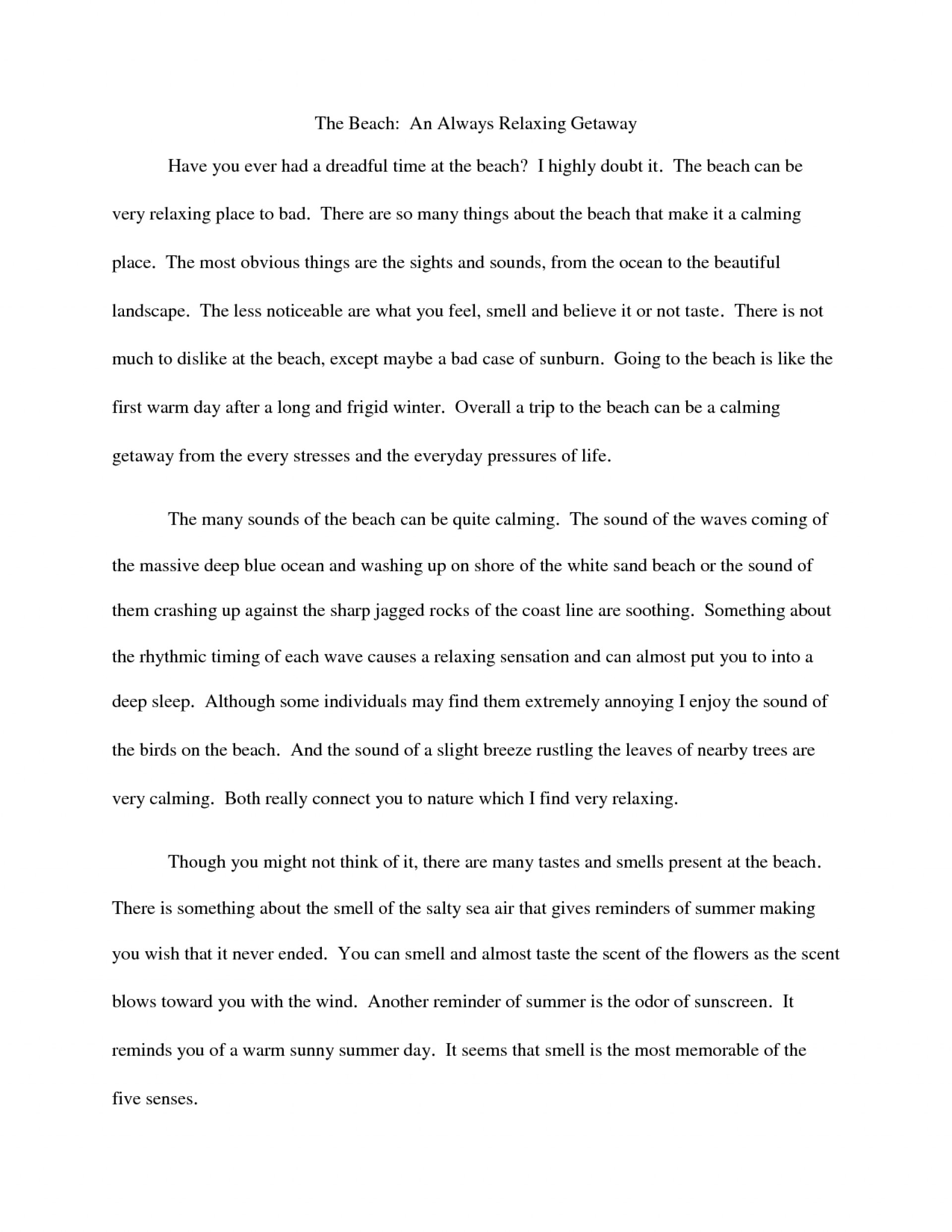 006 Essay Example Descriptive Beach Essays College That Stand Out Odvqltnc Short On The Sunset Paper Barefoot About Walk Vacation Narrative At Night Free Unbelievable Examples For Middle School Students Sample A Place Pdf 1920