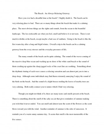 006 Essay Example Descriptive Beach Essays College That Stand Out Odvqltnc Short On The Sunset Paper Barefoot About Walk Vacation Narrative At Night Free Unbelievable Examples Good A Person For High School 360