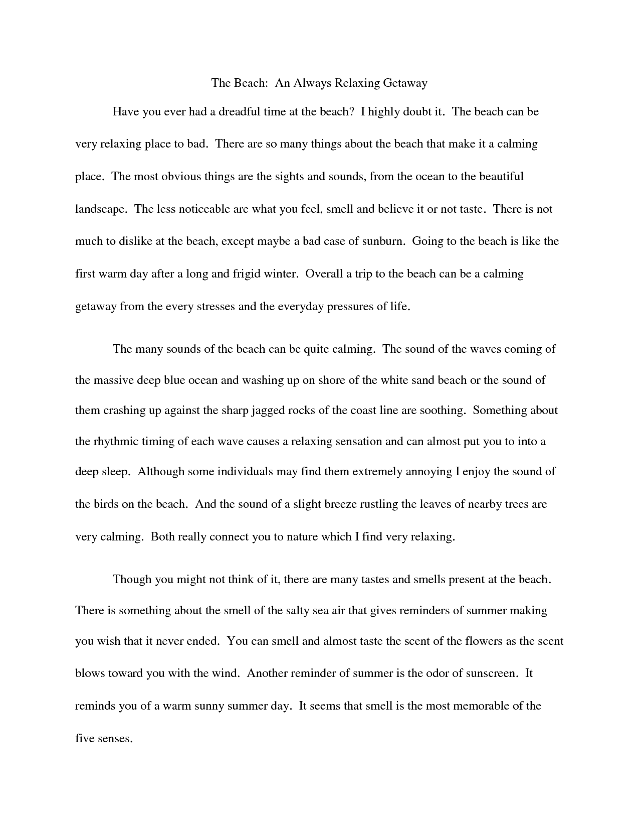 006 Essay Example Descriptive Beach Essays College That Stand Out Odvqltnc Short On The Sunset Paper Barefoot About Walk Vacation Narrative At Night Free Unbelievable Examples For Middle School Students Sample A Place Pdf Full