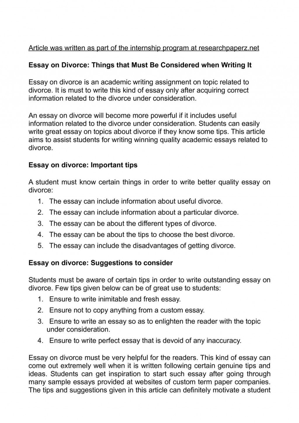 006 Essay Example Divorce Unusual Titles Conclusion Social Issue Large