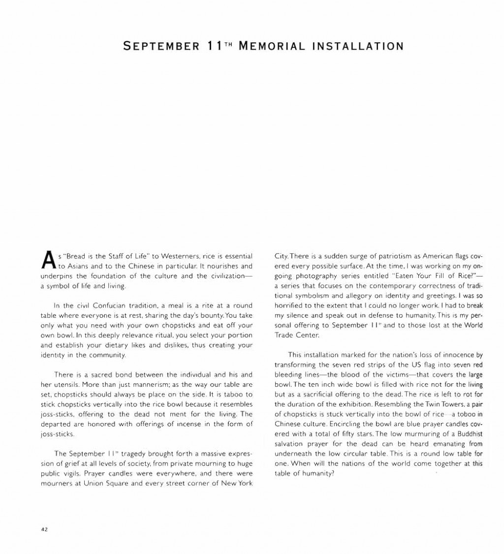 006 Essay Example For September 11th Memorial Installation  Stupendous 911 Dispatcher Fahrenheit WritingLarge
